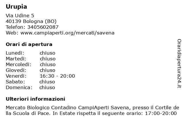 Urupia a Bologna (BO): indirizzo e orari di apertura
