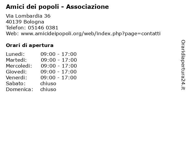 Amici dei popoli - Associazione a Bologna: indirizzo e orari di apertura