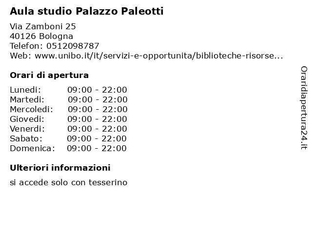 Aula studio Palazzo Paleotti a Bologna: indirizzo e orari di apertura