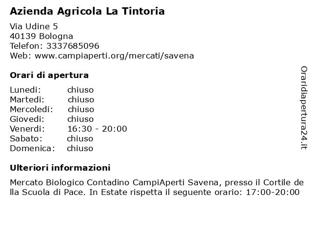 Azienda Agricola La Tintoria a Bologna: indirizzo e orari di apertura