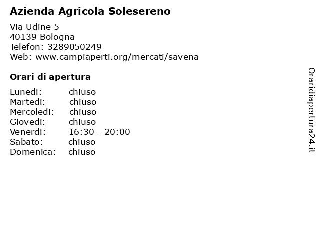 Azienda Agricola Solesereno a Bologna: indirizzo e orari di apertura