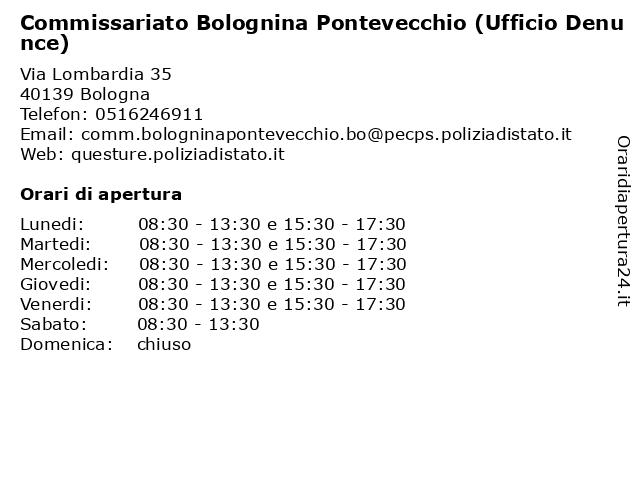 Commissariato Bolognina Pontevecchio (Ufficio Denunce) a Bologna: indirizzo e orari di apertura