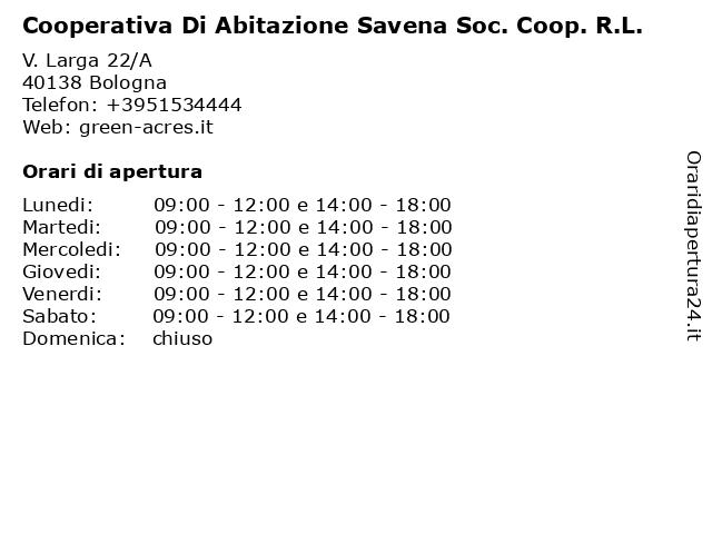 Cooperativa Di Abitazione Savena Soc. Coop. R.L. a Bologna: indirizzo e orari di apertura