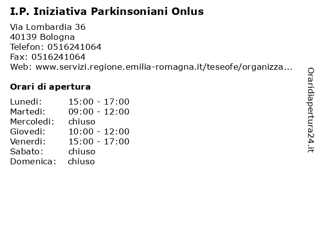 I.P. Iniziativa Parkinsoniani Onlus a Bologna: indirizzo e orari di apertura