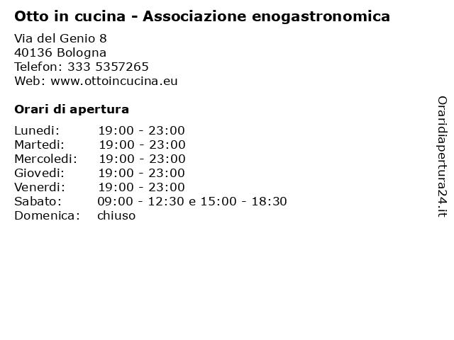 Á… Orari Otto In Cucina Associazione Enogastronomica Via Del Genio 8 40136 Bologna