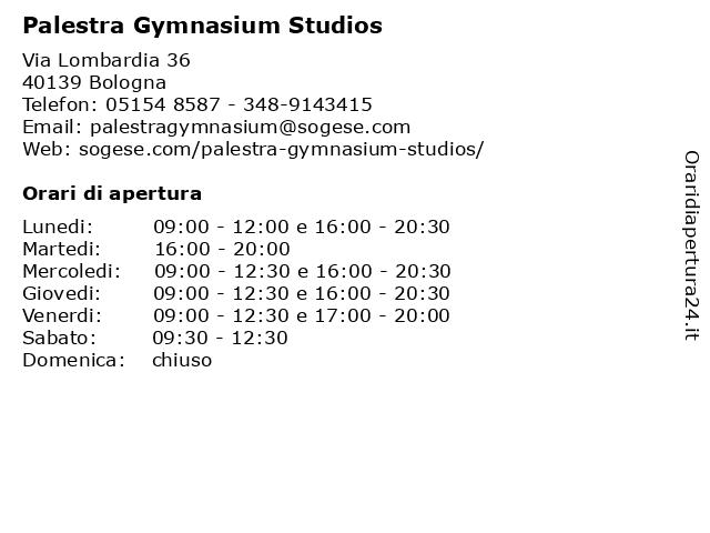 Palestra Gymnasium Studios a Bologna: indirizzo e orari di apertura