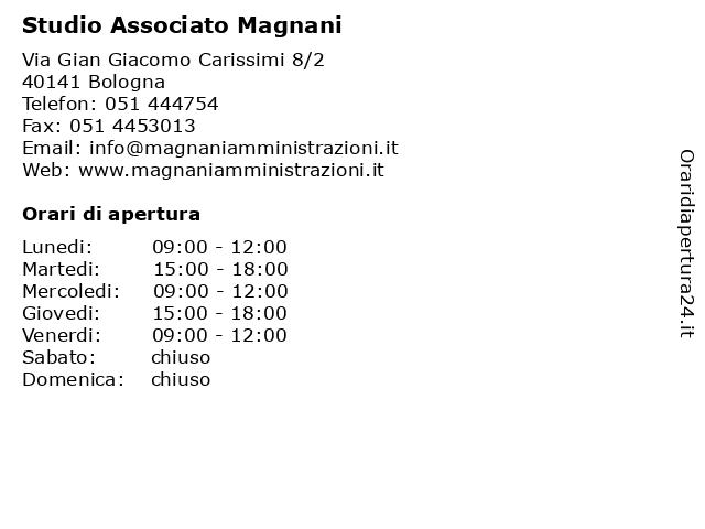Studio Associato Magnani a Bologna: indirizzo e orari di apertura