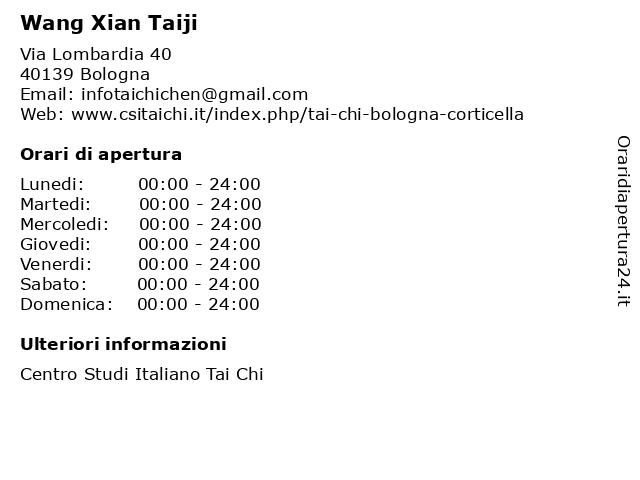 Wang Xian Taiji a Bologna: indirizzo e orari di apertura