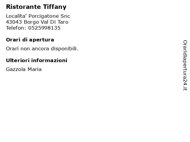 Ristorante Tiffany a Borgo Val Di Taro: indirizzo e orari di apertura