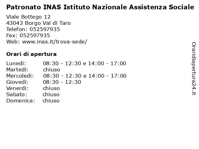 Patronato Inas a Borgo Val di Taro: indirizzo e orari di apertura