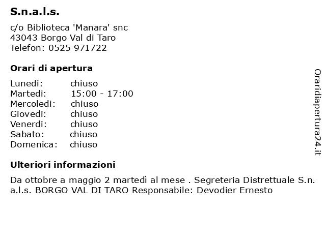 S.n.a.l.s. a Borgo Val di Taro: indirizzo e orari di apertura