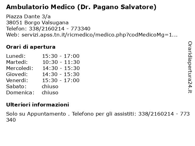Ambulatorio Medico (Dr. Pagano) a Borgo Valsugana: indirizzo e orari di apertura
