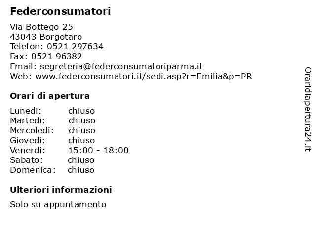 Federconsumatori a Borgotaro: indirizzo e orari di apertura