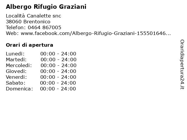 Albergo Rifugio Graziani a Brentonico: indirizzo e orari di apertura
