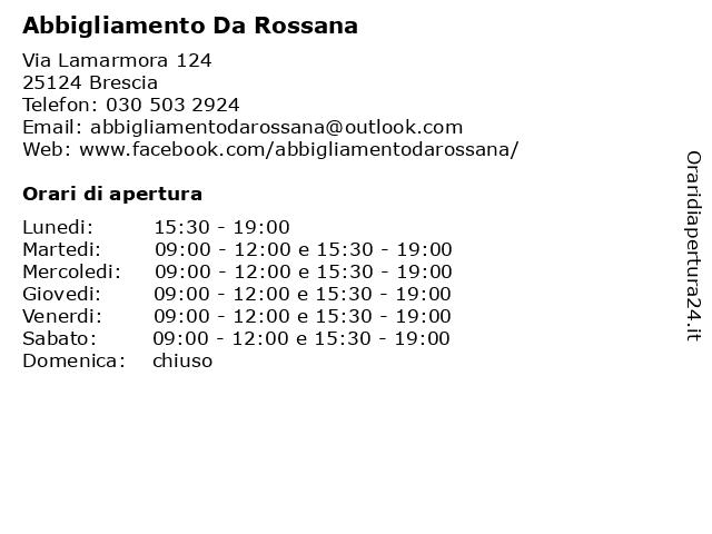 Abbigliamento Da Rossana a Brescia: indirizzo e orari di apertura