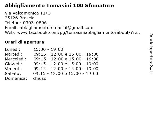 Abbigliamento Tomasini 100 Sfumature a Brescia: indirizzo e orari di apertura