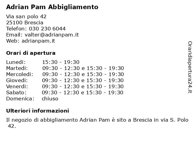 Adrian Pam Abbigliamento a Brescia: indirizzo e orari di apertura