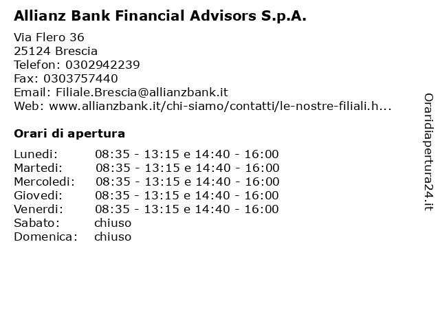 Allianz Bank Financial Advisors S.p.A. a Brescia: indirizzo e orari di apertura