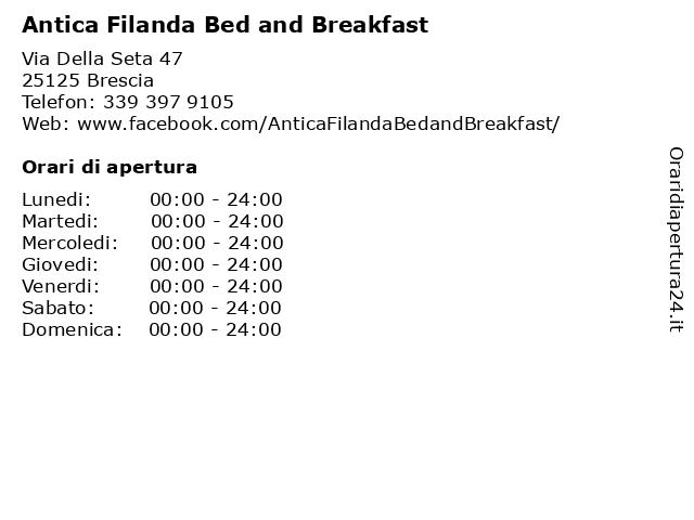 Antica Filanda Bed and Breakfast a Brescia: indirizzo e orari di apertura