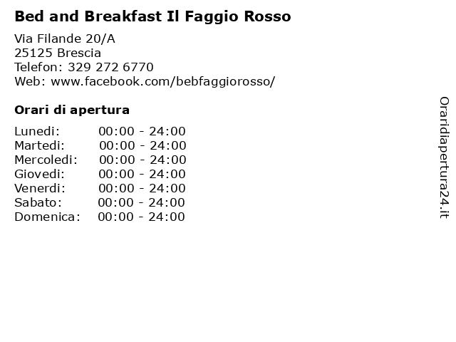Bed and Breakfast Il Faggio Rosso a Brescia: indirizzo e orari di apertura