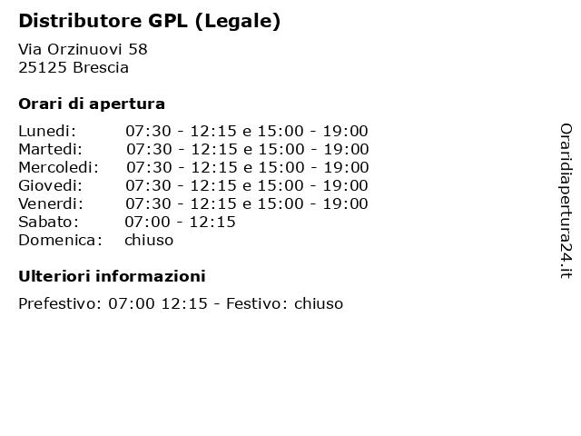 Distributore GPL (Legale) a Brescia: indirizzo e orari di apertura