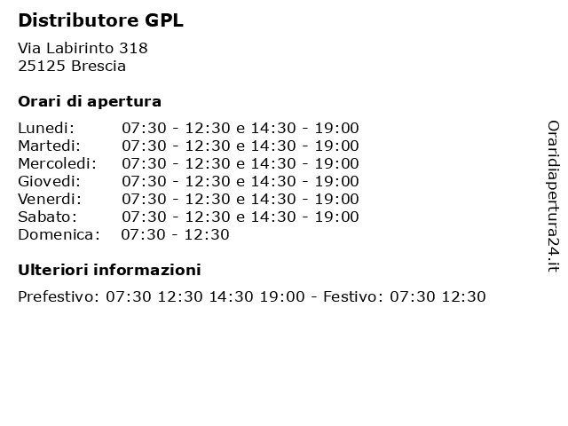 Distributore GPL a Brescia: indirizzo e orari di apertura