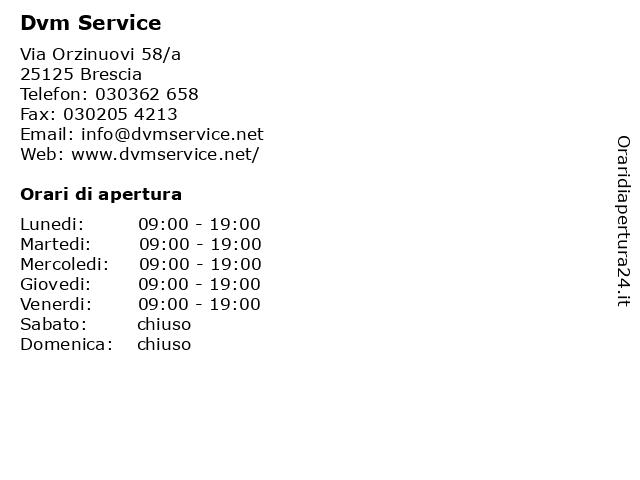 Dvm Service a Brescia: indirizzo e orari di apertura