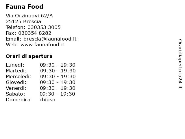 Fauna Food a Brescia: indirizzo e orari di apertura