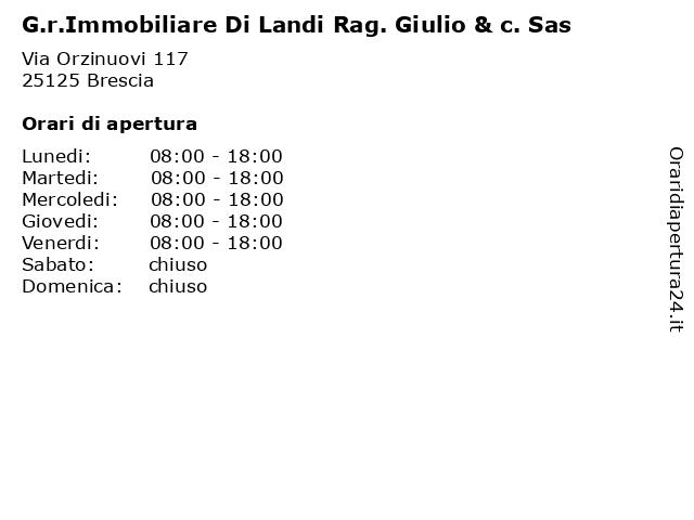 G.r.Immobiliare Di Landi Rag. Giulio & c. Sas a Brescia: indirizzo e orari di apertura