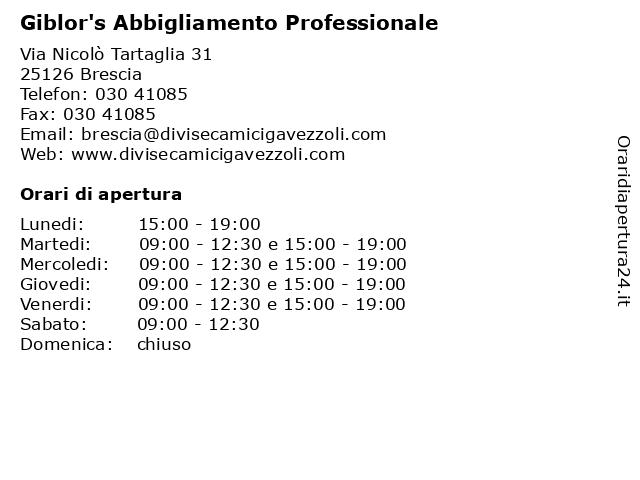 Giblor'S Abbigliamento Professionale a Brescia: indirizzo e orari di apertura