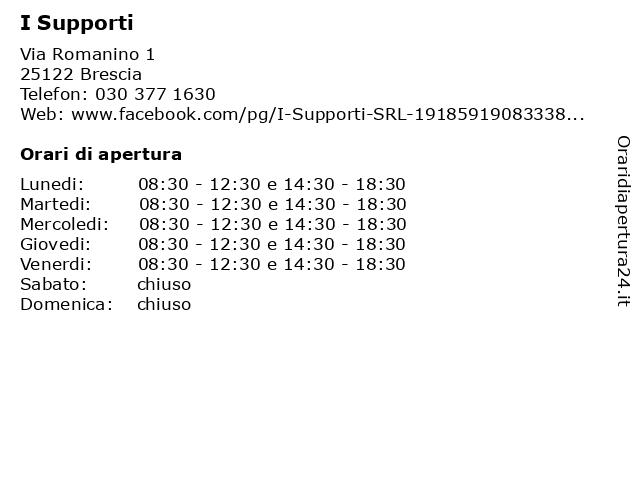 I Supporti a Brescia: indirizzo e orari di apertura