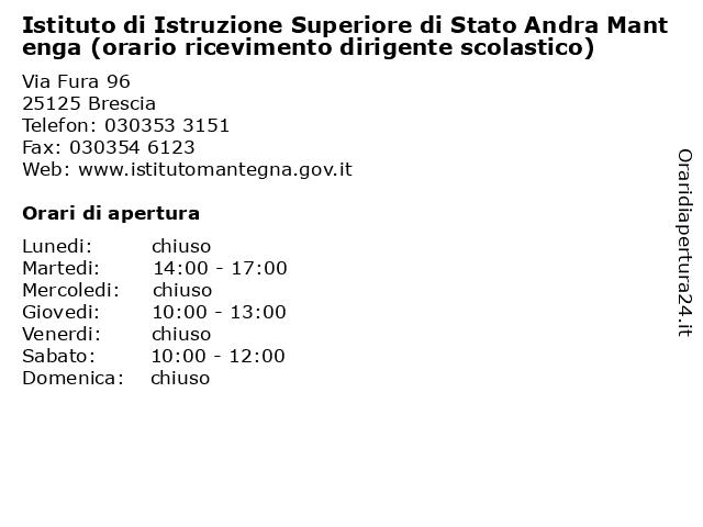 Istituto di Istruzione Superiore di Stato Andra Mantenga (orario ricevimento dirigente scolastico) a Brescia: indirizzo e orari di apertura