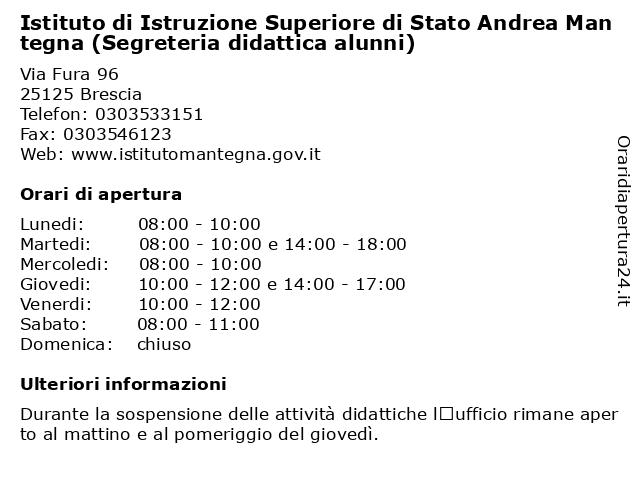 Istituto di Istruzione Superiore di Stato Andrea Mantegna (Segreteria didattica alunni) a Brescia: indirizzo e orari di apertura