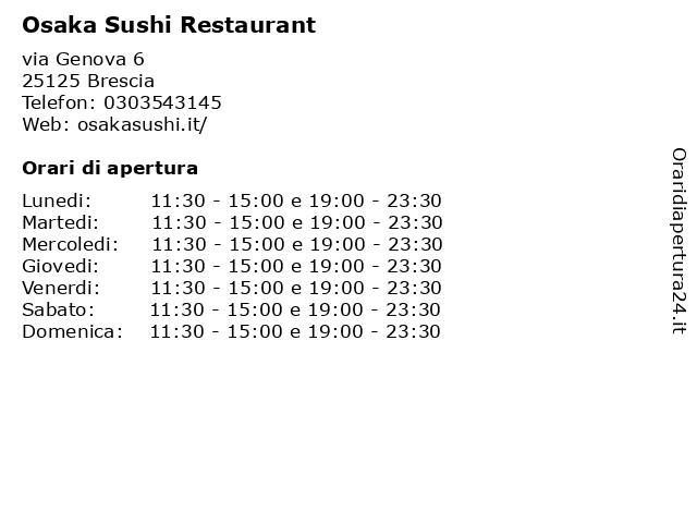 Osaka Sushi Restaurant a Brescia: indirizzo e orari di apertura