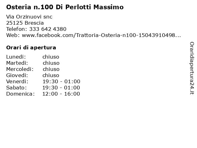 Osteria n.100 Di Perlotti Massimo a Brescia: indirizzo e orari di apertura