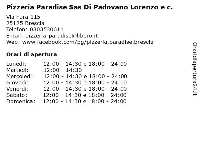 Pizzeria Paradise Sas Di Padovano Lorenzo e c. a Brescia: indirizzo e orari di apertura
