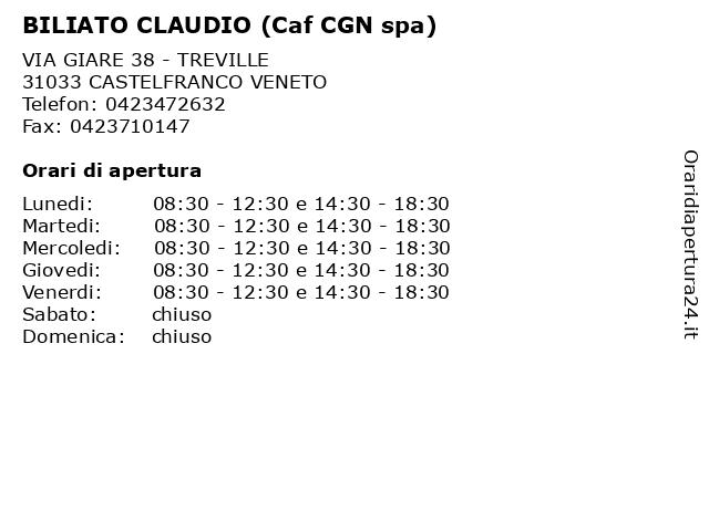 BILIATO CLAUDIO (Caf CGN spa) a CASTELFRANCO VENETO: indirizzo e orari di apertura