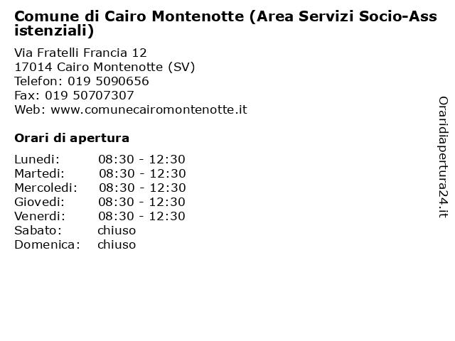 Comune di Cairo Montenotte (Area Servizi Socio-Assistenziali) a Cairo Montenotte (SV): indirizzo e orari di apertura