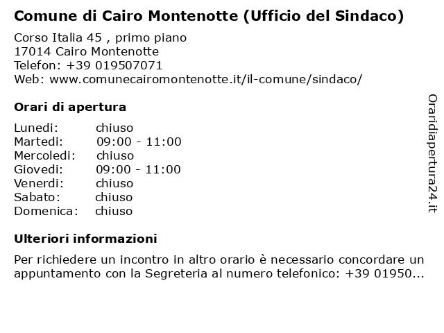 Comune di Cairo Montenotte (Ufficio del Sindaco) a Cairo Montenotte: indirizzo e orari di apertura