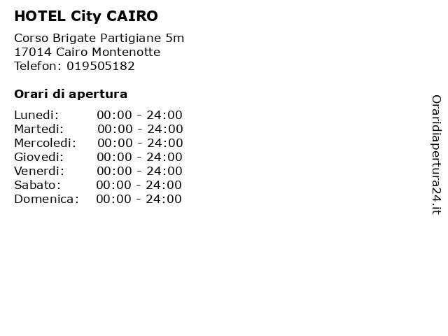 HOTEL City CAIRO a Cairo Montenotte: indirizzo e orari di apertura