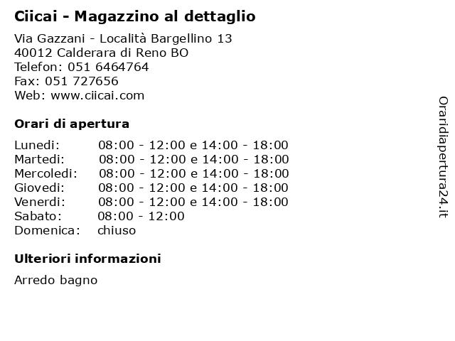 Cicai Arredo Bagno Bologna.ᐅ Orari Ciicai Magazzino Al Dettaglio Via Gazzani Localita