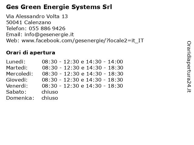 Ges Green Energie Systems Srl a Calenzano: indirizzo e orari di apertura