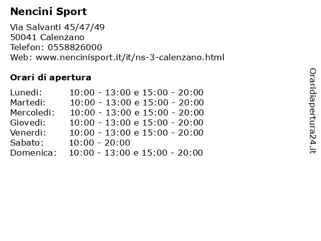 Á… Orari Nencini Sport Via Salvanti 45 47 49 50041 Calenzano