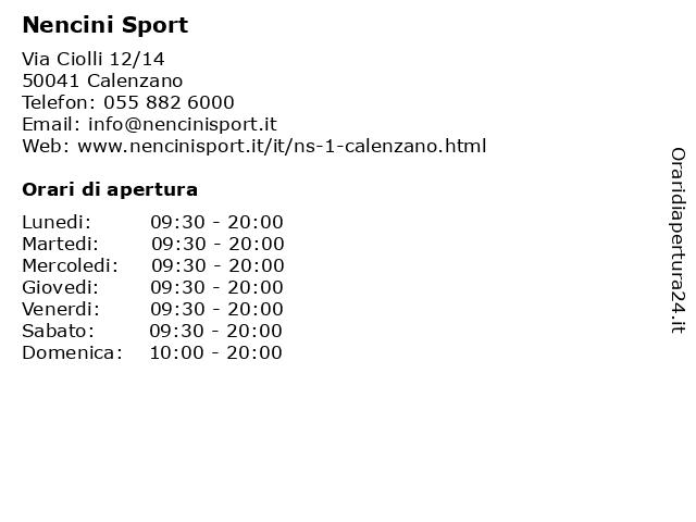 Á… Orari Nencini Sport Via Ciolli 12 14 50041 Calenzano