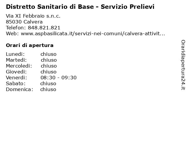 Distretto Sanitario di Base - Servizio Prelievi a Calvera: indirizzo e orari di apertura