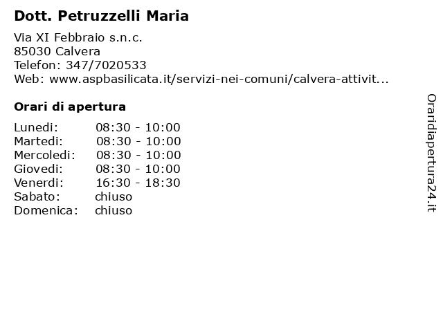 Dott. Petruzzelli Maria a Calvera: indirizzo e orari di apertura