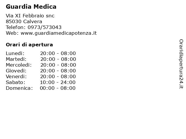 Guardia Medica a Calvera: indirizzo e orari di apertura