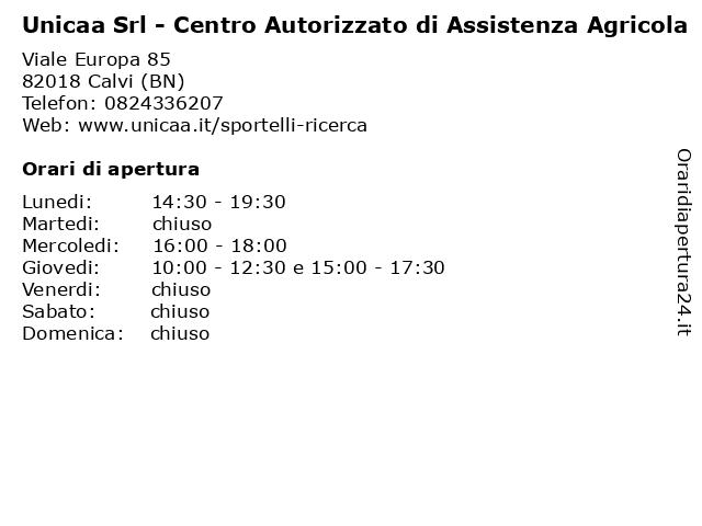 Unicaa Srl - Centro Autorizzato di Assistenza Agricola a Calvi (BN): indirizzo e orari di apertura