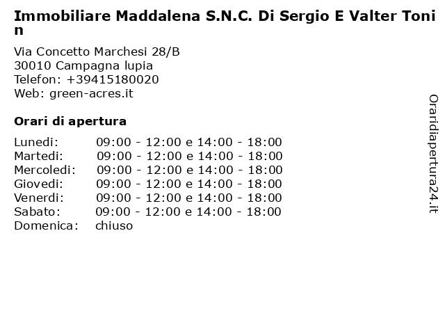 Immobiliare Maddalena S.N.C. Di Sergio E Valter Tonin a Campagna lupia: indirizzo e orari di apertura