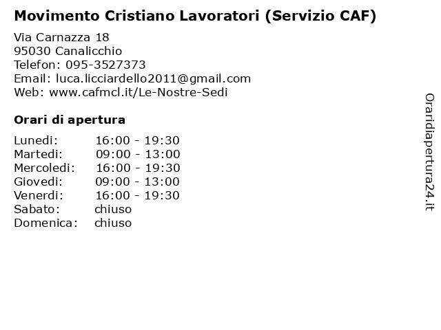 Movimento Cristiano Lavoratori (Servizio CAF) a Canalicchio: indirizzo e orari di apertura